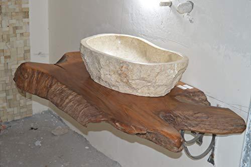 Generico base piano lavabo mensola in legno di teak indonesiano più lavabo nelel misure a scelta - arredamento orientale etnico etnik 105x48