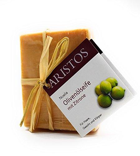Olivenölseife | Zitronenaroma | vegan | Blockseife | Kernseife | Haare Gesicht und Körper | handgemacht aus Griechenland | ARISTOS | (1x 90 g)