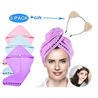 amropi 3 Pack Hair Drying Towels Wrap Turban Bath Shower Head Towel with Buttons Cat Ear Headband, 3 Colors and Beige