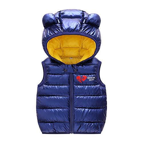 Livoral Kinder Winter Mantel Kleinkind-Baby-ärmellose Winter-Winddichte Mantel-mit Kapuze warme Oberbekleidung-Weste(B-Marine,120)