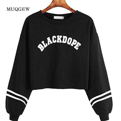 Femme Sweat, Feixiang & # X2648; exclusif customisation tendance pour femme décontracté à manches longues imprimé Pull Sweat Manteau TOPS XL noir