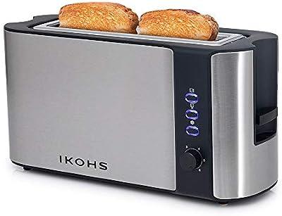 IKOHS Tostadora Premium Toast - Tostadora de Pan de Ranura Larga y Ancha, 1000W, Función de Extraelevación, Descongelado y Cancelación, 6 Niveles de Temperatura, Acero Inoxidable (Gris)
