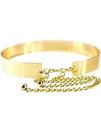 BEETEST Moda mujer dama Full Metal placa cadenas espejo cintura vestido  cintura metálica correa f24675033711