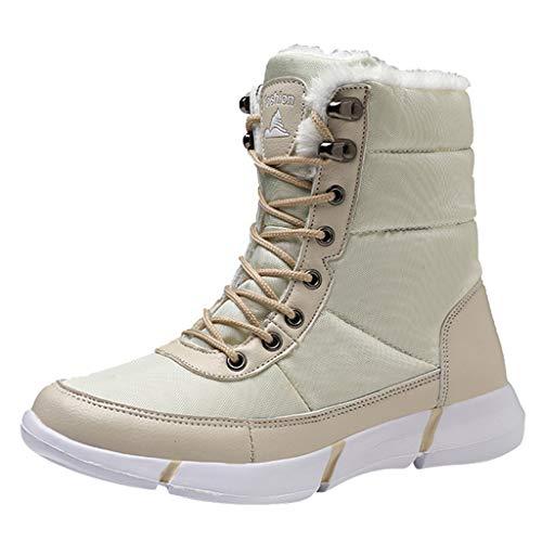 HDUFGJ Unisex Schneeschuhe Plus Samt Warm halten rutschfeste Outdoor-Schuhe für Sport Hiking Trekking-& Wanderhalbschuhe Verschleißfest Freizeitschuhe Wasserdicht Laufschuhe Bequem 38 EU(Beige)