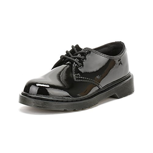 Dr Martens Everley Black Patent Youth Derby Shoes Schwarz