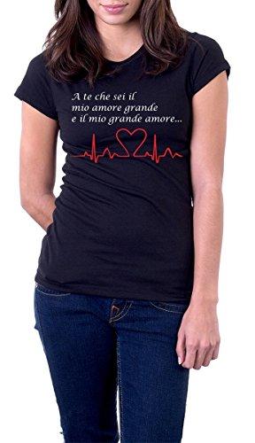 t-shirt NERA frase - A te che sei il mio grande amore S M L XL XXL maglietta by tshirteria nero