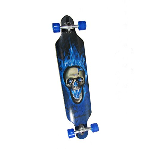SK LED Longboard 41 Blauer Totenkopf ABEC 11 Blaue Rollen 8fach Bereift