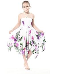 Niña gitano Botón desigual Hawaiian Luau vestido en Blanco con Rosa y Floral Púrpura