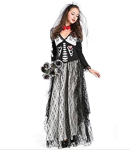 HZHF Squelette à imprimé squeletté des femmes Ghostly Bride Costume
