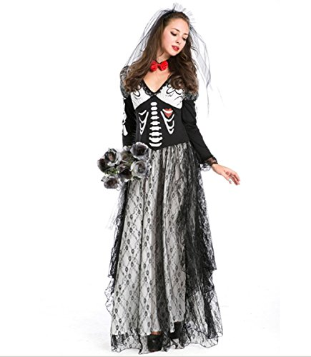 DuuoZy Frauen Skeleton Druck Leiche Ghostly Braut Kostüm Cosplay Party Fancy Dress Set , one size , (Kostüme Showgirl Dress Fancy)