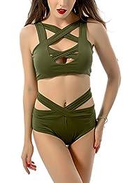Lannorn Femmes 4 couleurs Sexy Ruffles Maillot de bain Off Shoulder Push Up Bandeau Bandage Ensemble de bikini à deux pièces exclusif Énorme Surprise LQvnLST