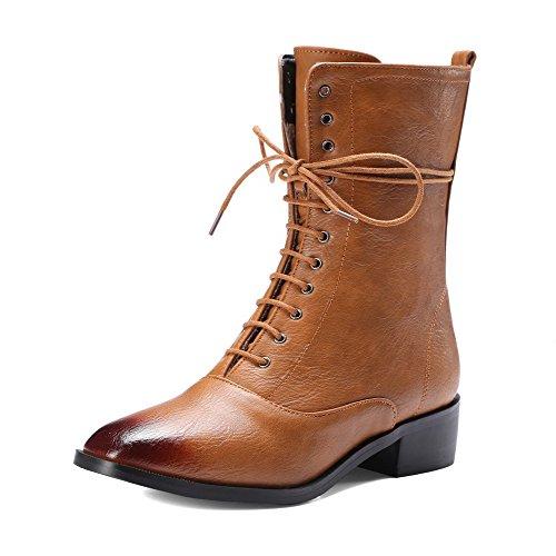 AllhqFashion Damen Rein Rund Zehe Weiches Material Reißverschluss Stiefel, Braun, 36
