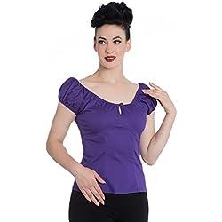 Blusa Púrpura de Hell Bunny Melissa en estilo Rockabilly 50's