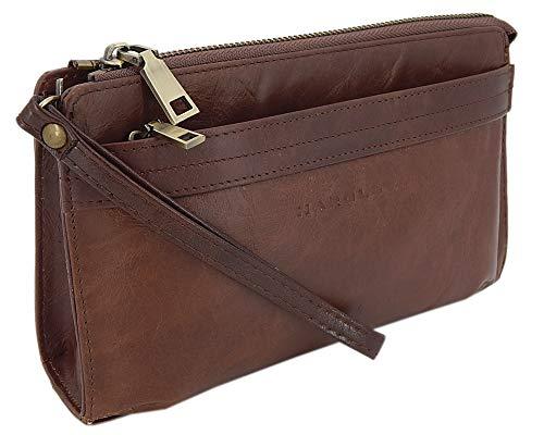 Elegante Herren Handgelenktasche Herrenhandtasche aus echtem Leder mit Abnehmbarer Handgelenkschlaufe (Braun) -