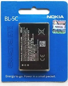 1020 mAh BL-5C Original Battery For Nokia 1100 1101 1110 1110i 1112 1200 1208 1209 1600 1650 1255 1108 1680C 1315 2300 2310 2600 2610 2626 2280 2355 2112 2118 2255 2270 2280 2285 2275 2272 3100 3120 3660 3109 Classic 3110 Classic 3110 Evolve 3600 3610 Fold 3650 3105 3125 3620 3555 3109 6030 6085  available at amazon for Rs.209