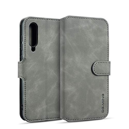 Premium-handy-holster (xinyunew Samsung Galaxy A50 Hülle, 360 Grad Handyhülle + Panzerglas Premium Handy Schutzhülle Leder Wallet Tasche Flip Brieftasche Etui Schale (Grau))