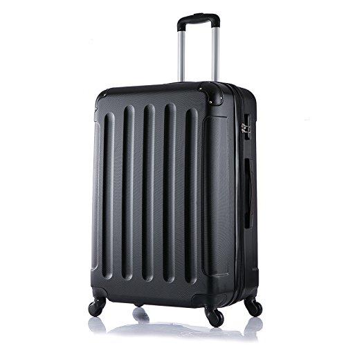 EUGAD Reisekoffer Hartschale Koffer Trolley 4 Rollen Hartschalenkoffer mit erweiterbaren Volumen leicht Schwarz (XL, 75 cm & 110 Liter) RK4203sz