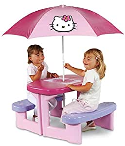 Smoby - 310164 - Jeu de Plein Air - Table Picnic Hello Kitty + Parasol