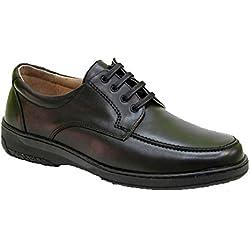 Primocx Zapato Cordones Hombre Especial Para Diabéticos Extra Cómodo EN Negro