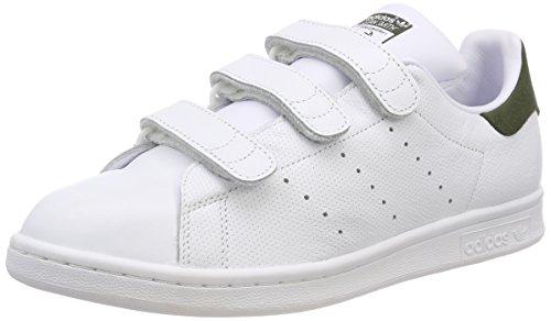 adidas Herren Stan Smith CF Fitnessschuhe, Weiß Ftwbla/Carnoc 000, 44 2/3 EU (Klettverschluss Schuhe)