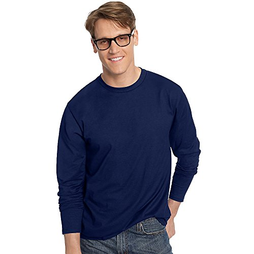 Hanes Tagless Nano-T Mens Long-Sleeve Tee Navy