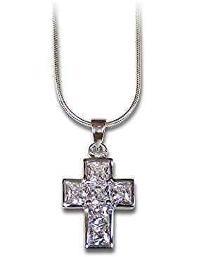 Halskette mit Kreuz-Anhänger 925er Silber und Zirkonia, 1,8cm
