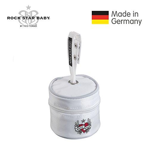 Preisvergleich Produktbild ROCK STAR BABY® by Tico Torres Schnullertasche  Stylische Tasche zur hygienischen Aufbewahrung von Schnuller  Heart & Wings, weiß