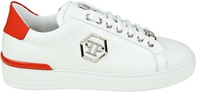 Philipp Plein Herren MSC0951PLE075N13 Weiss Leder Sneakers