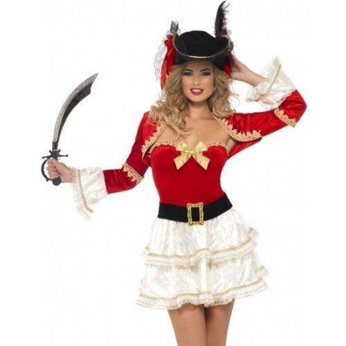 Verwegene Babe Piraten Kostüm Kleid Outfit - Rot, 12-14 (Verwegene Piraten Kostüm)