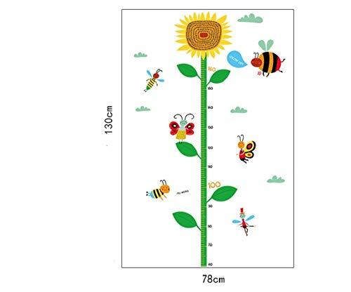 Wandtattoos & Wandbilder Sun Flower Bee Kind Höhe Diy Kinderzimmer Vinyl Wandaufkleber Dekoration Kunst Applique 3D Poster Tapete Wandbild