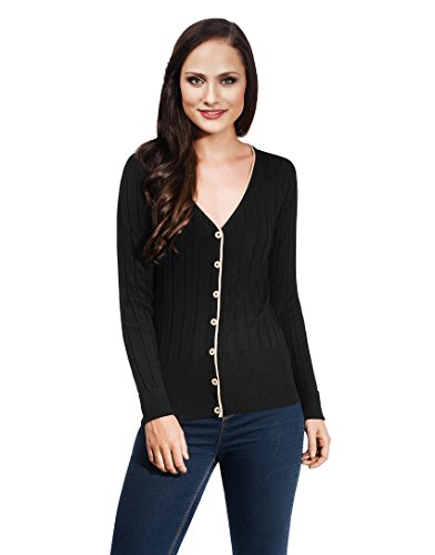 Vincenzo Boretti Women's Cardigan Knit-Jacket Slim-Fit Long-Sleeve Striped Rib-Knit Contrast Collar Buttons Placket Plain Colour Warm Smart-Casual Ladies New-Fashion All-Year