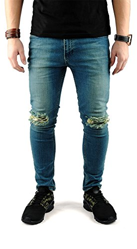 FiveSix Herren Used-Look Slim-Fit Denim Destroyed-Look Bikerjeans Löcher Skinny Jeans Zerrissen Hose mit Stretch Blau