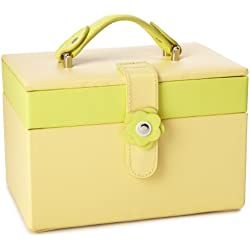 Paylak TS2650YELLOW Leather Jewelry Case with Yellow Lime Trim Flower Buckle