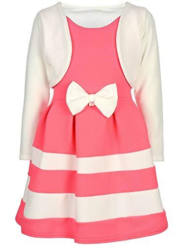 d Kinder-Kleider Spitze Winter-Kleid Fest-Kleid Lang-Arm Kostüm 30003 Weiß-Pink 104 ()
