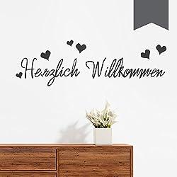 """Wandkings Wandtattoo """"Herzlich Willkommen (mit 6 Herzen)"""" 50 x 15 cm dunkelgrau - erhältlich in 33 Farben"""