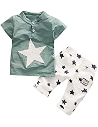 20f2f469adf78 Moonuy Toddler Garçons Mode Étoile Imprimer Vêtements Ensemble Enfants Bébé  Garçons T-Shirt À Manches