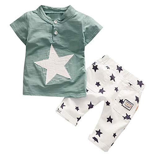YpingLonk Boys Star Short Sleeve Shorts Zweiteiler, Kurzärmliges T-Shirt mit Karikaturdruck für Kinder Kleinkind - Boy Rock Star Kostüm