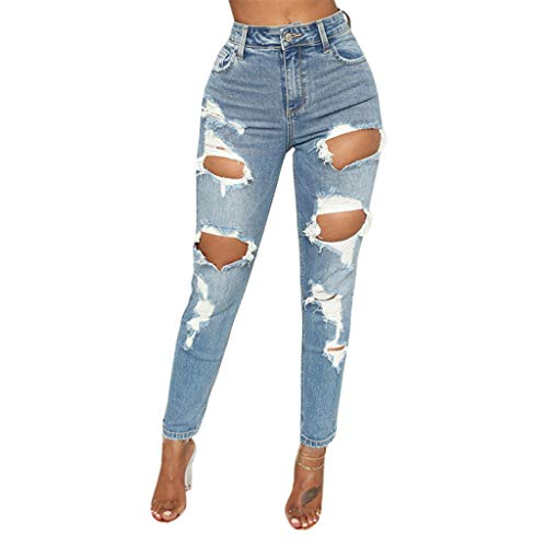 Damen Hohe Taille Loch Denim Yogogo Sexy Jeans Hose 3/4 Lange...