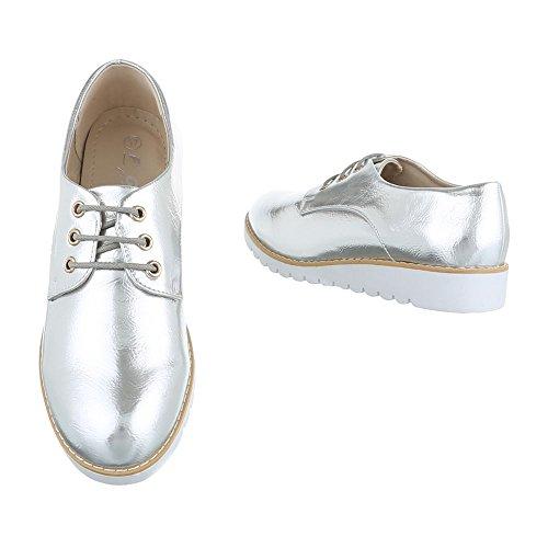 Schnürer Damenschuhe Oxford Schnürer Schnürsenkel Ital-Design Halbschuhe Silber