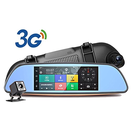 Yuyitec 3G auto fotocamera 17,8cm IPS Android 5.0GPS Car video registratore Bluetooth doppio obiettivo specchietto (Gps Specchietto Retrovisore)