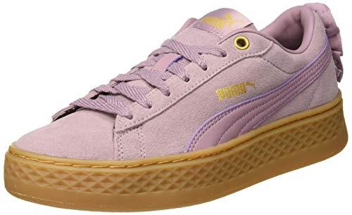 Puma Damen Smash Platform Frill Sneaker, Violett (Elderberry-Puma Team Gold), 37 EU (4 UK)