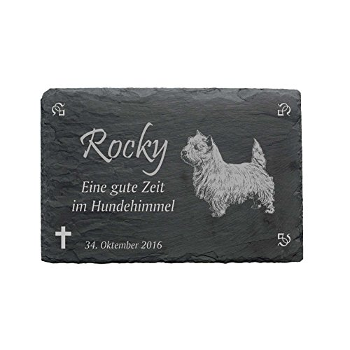 Gedenktafel « WEST HIGHLAND WHITE TERRIER » aus Schiefer - ca.22 x 16 cm - Wetterfeste Gravur