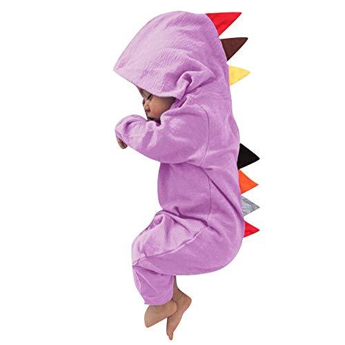 en Jungen Mädchen Kleidung, Evansamp Nette Dinosaurier Baby Anzug Mit Kapuze Overall Outfits Kleidung(Lila,90) ()