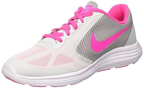 Nike Revolution 3 (Gs), Entraînement de course fille Multicolore (Pure Gris Platinum/Pink Blast-Wolf Grey-White)