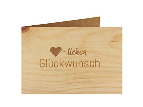 Holzgrußkarte - Geburtstagskarte - 100% handmade in Österreich - Postkarte Glückwunschkarte Geschenkkarte Grußkarte Klappkarte Karte Einladung, Motiv:HERZLICHEN GLÜCKWUNSCH