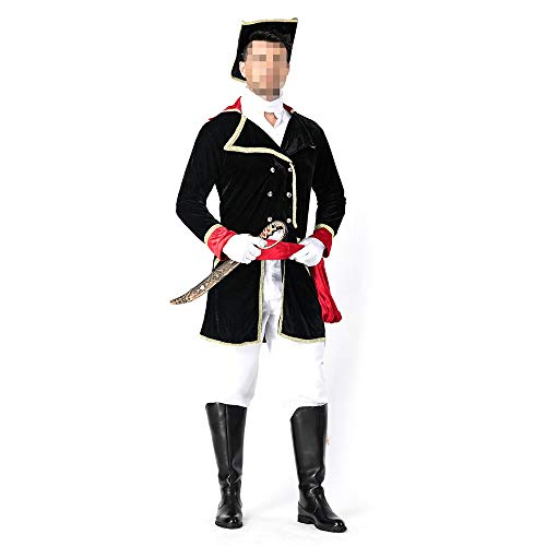 kMOoz Halloween Kostüm,Outfit Für Halloween Fasching Karneval Halloween Cosplay Horror Kostüm,Halloween Kostüm Piraten Bühnenspiel Uniform Herren Uniform Cosplay Anzug Royal Checkout