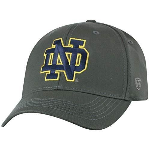 Top of the World Herren Mütze NCAA Fitted Charcoal Icon, Herren, NCAA Men's Fitted Hat Relaxed Fit Charcoal Icon, Notre Dame Fighting Irish Charcoal, Einstellbar - Notre-dame-fitted Cap