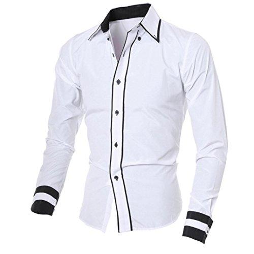 Herren Hemd,Sannysis Männer Casual Langarmshirt Top Bluse (M, Weiß)