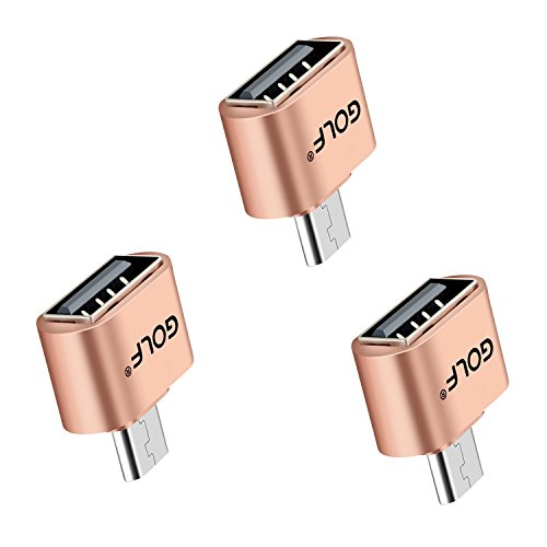 Micro USB Adapter, Joyshare Micro USB auf USB OTG Adapter Kabel für Smartphones, Micro USB B male zu USB A female- Gold- 3 Stücke