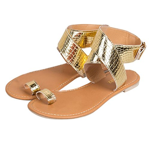 Beikoard Promozione della Moda Sandali Donna Taco Sandali Infradito Donna con Cinturino Incrociato a Vita Bassa (Oro, 40)